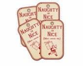 Naughty or Nice Tag,  Christmas Tags, Santa tags, Retro Santa tag, Santa with Package, set of 4