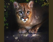 mountain lion art, puma art, mountain lion painting,   mountain lion print, nature, forest creature, couger, wild cat, woodsy animal