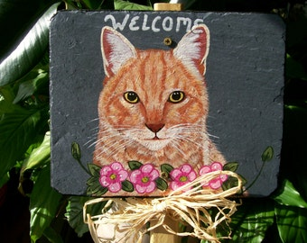 Yellow Tiger Cat Garden Welcome Slate