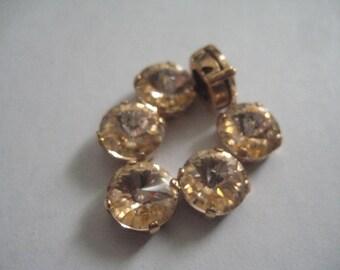 Lot of 6 8mm Light Peach Preciosa Czech Rivoli Cut Rhinestones in Red Brass Sew On settings
