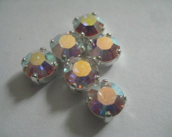 RESERVED for PAULA Lot of 32 SS35 or 7mm Crystal AB Article 1100 Chatons Swarovski Rhinestones in Brass
