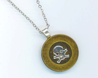 Round Brass Button and Skull Pendant . Autumn Fall Halloween. Rhodium Plated Skull& Chain . Memento Mori - Remember by enchantedbeas on Etsy