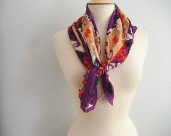 Vintage ECHO for Nordstrom Silk Purple Aztec Design Scarf- Made in Japan