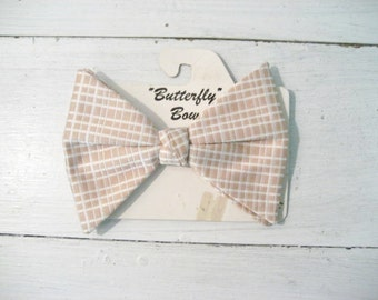 "Vintage Plaid Clip on ""Butterfly"" Bow Tie"