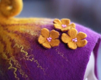 Felted gnome elf fairy hat with three flowers purple and yellow  or any other color MADE TO ORDER