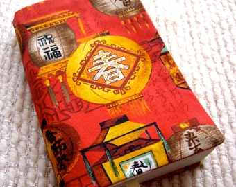 Chinese Lanterns Fabric Book Cover - Mass Market Paperback Size, Red Yellow Brown Black White, Gingham, Kanji, Spring, Good Luck, Asian