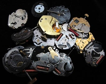Vintage Antique Industrial Looking Watch Movements Steampunk Altered Art Assemblage DI 4
