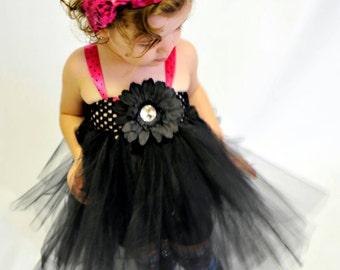 Girls Flower Tutu - Beautiful Black Tutu Dress Flowers, Satin Ribbon -  Birthday, Wedding, Pageant, Costume, Play, Photo Prop