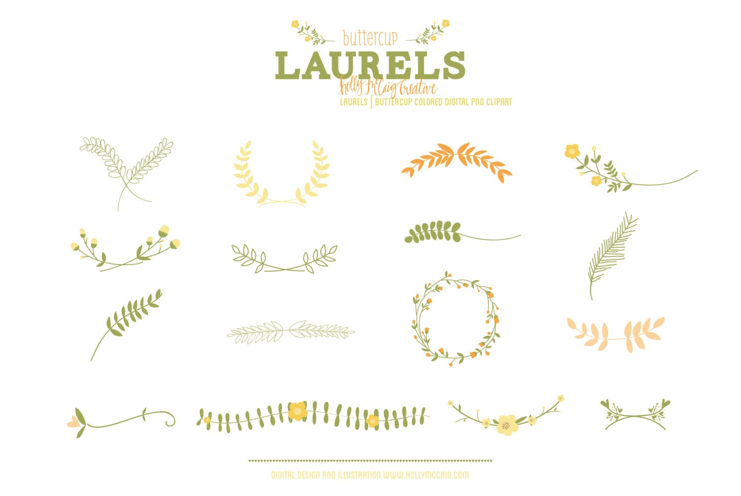 laurels clip art hand drawn clip art flower laurel clipart floral wreaths graphics
