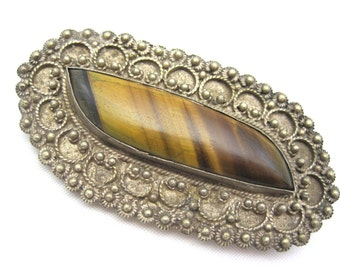 Victorian Tiger Eye Brooch - Victorian Jewelry