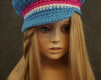 Pink, Blue, White Crochet Newsboy Cap,Toddler Hat,100% Cotton,Size 1-3,Handmade Gift,Girls, Boys, Spring, Summer,