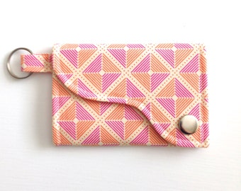 Tri-fold Credit Card / Business Card Holder/ Key Fob made w/ Designer fabric Frames