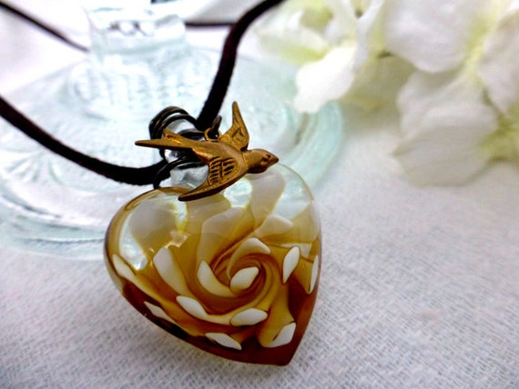 Glass Heart Choker Necklace in Gold or Blue - Unconditional Love Lampwork Heart Pendant