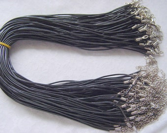 20 Black Rubber Cord Necklaces With Lobster Clasp and Extension Chain (DP 509)