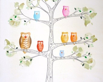 """House of Owls- 12 x 12 """" Print, owls, tree, forest, woodland animals, camping"""