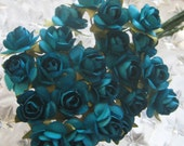 Paper Millinery Flowers 24 Petite Roses In Peacock Blue