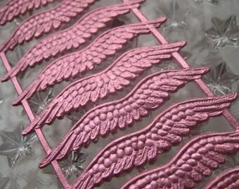 12 Dresden Pink Embossed Paper Angel Wings Made In Germany
