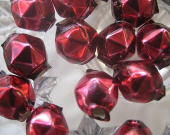 15 Glass Garland Beads Faceted Burgundy Christmas Garland Beads Czech Republic 8mm  081BU