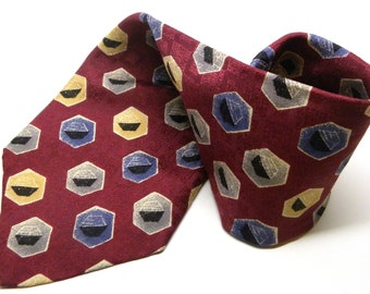 "Vintage Slazenger After Golf Necktie HEXAGON Art Deco Style Jacquard Geometric Silk TIE Burgundy Blue, Yellow, Gray 4 1/4"" Wide 006"