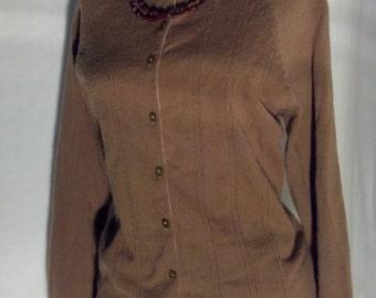 Vintage 1960's Chocolate Brown Cardigan Sweater Rockabilly Pin Up Sweater Girl Retro
