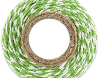 Classic Lime Green Bakers Twine - 100 yards of lime green and white stripe twine