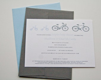 Twins Baby Shower Invitation Bicycle Tricycle Boy Birth Announcement  Set of 10 by Belleza e Luce