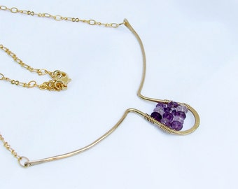 Beaded Amethyst Necklace, Modern minimalist gold
