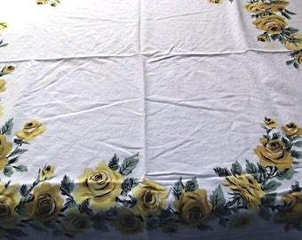 Vintage 50s,60s YELLOW Roses Tablecloth,Cutter, Crafts, Sew, Quilting