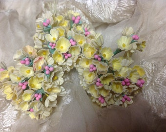 1 BOUQUET   VINTAGE Millinery Flowers Forget Me Nots Yellow with Pink Composition Buds  for Weddings - Mothers Day & Easter