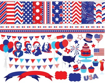 4th July clip art Independence day fourth July clipart digital papers USA flag fireworks presidents US graphics personal and commercial use