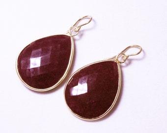 Genuine Ruby Earrings 14K Gold Bezel Earrings Red Ruby Earrings Real Ruby Teardrop Precious Ruby Earrings July Birthstone BZ-E-106-Ruby/g