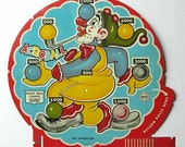 Vintage 1940's Marx Toys Litho Tin Acroball Game Back Board Piece with Colorful Clown Juggling Balls, Wall Deco