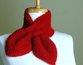 Cranberry Red Knit Keyhole Scarf, Women's Scarf, Winter Scarf, Knitted Scarf, Vegan Scarf, Original Stay Put Scarf, Pull Through  Scarf