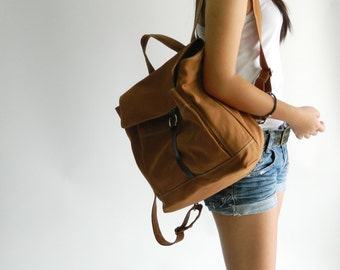 Sale 30% - Cognac Brown canvas backpack, unisex leather backpack, Women diaper Satchel,  School laptop bag , mom travel bag /  no.102 -TANYA