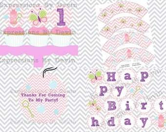 DIY Printable Butterfly and Bubbles Large  Party Pack ( Banners, Invitations etc)
