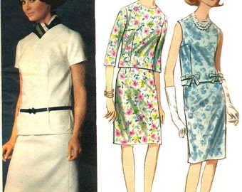 1960s Skirt Pattern Overblouse Butterick Vintage Uncut Sewing 2-Piece Dress Women's  Misses Size 12 Bust 32 Inches