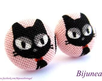Cat earrings - Black cat stud earrings - Black cat studs - Cat posts -  Cat post earrings sf1043