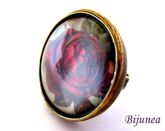 Flower ring - Spring Flowers ring - Adjustable flower ring - Red flower ring - Nature flower ring r768