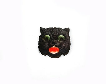 Halloween Brooch, Scaredy Cat Brooch, Black Cat, Halloween Badge