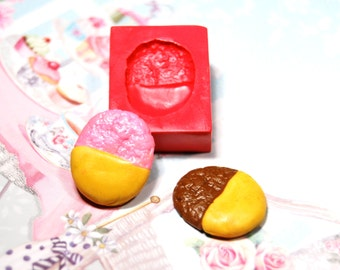 Cookie5 Mold/Mould for miniature food,sweet using Resin, Polymer clay, Air dry Clay, etc. Cabochon size: 1,8 cm x 1,4 cm x 0,35 cm height