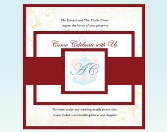 Mickey wedding invitation, Disney cruise Wedding Invitation set, nautical wedding invitations, red Wedding Invitation suite, teal invite
