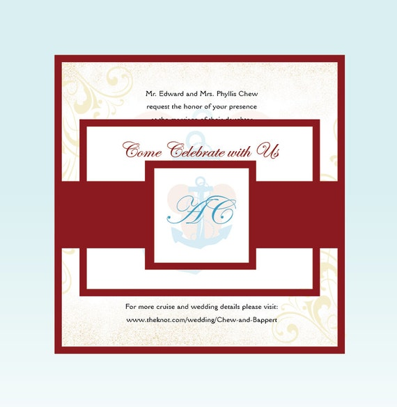 Disney Wedding Invitation: Disney Cruise Wedding Invitation Set Nautical Wedding