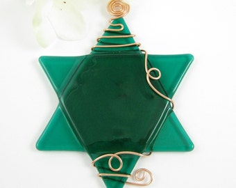 Emerald Green Glass Star of David Suncatcher Ornament
