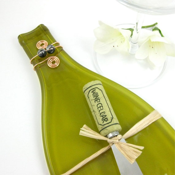 Flattened Wine Bottle Tray - Melted Wine Bottle Olive Green and Eco Friendly
