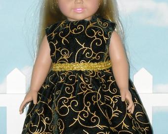 American Girl 18 inch Doll Dress Handmade Black Velvet with Gold