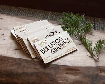 50 Custom engraved wood business cards