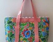 Beth's Green Vintage Floral Oilcloth Multi Market with Rick Rack and Zipper Closure