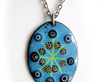SALE / Vintage Modernist COPPER ENAMEL Pendant on Silver Chain / Atomic Starburst Necklace In Blue and Green