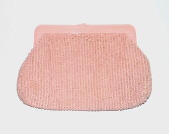 1960s purse / vintage 60s purse / raffia / Cotton Candy Pink Structured Raffia Purse