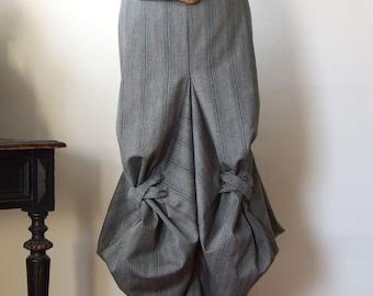Skirt unique origami, architectural construction skirt in gray pinstripes, midi skirt, avant garde skirt, Couvert skirt, modern skirt